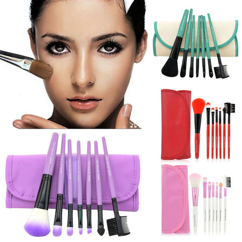 7Pcs Professional Soft Cosmetic Make-up Brush Set Blush Makeup Brushes w/h Case