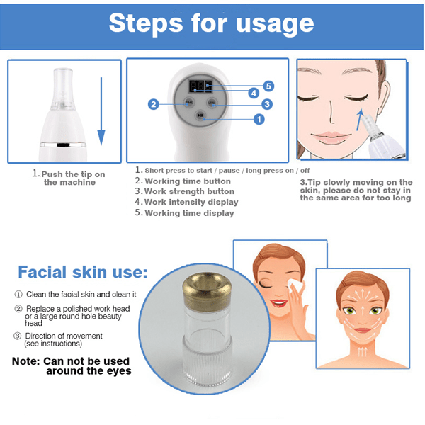 Blackhead Remover Vacuum Suction Diamond Dermabrasion Microdermabrasion -  Facial Pore Cleaner