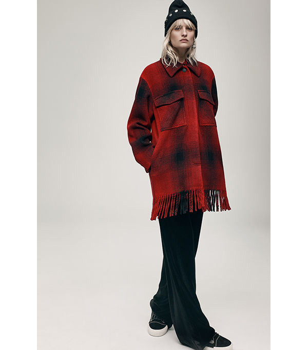 Alexander Wang Wool Fringed Overshirt in Red