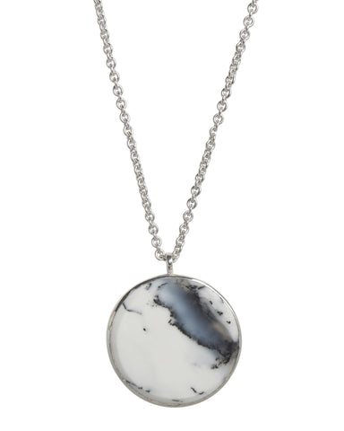 Medallion Moss Agate Large in Silver