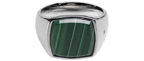 Cushion Green Malachite Ring in Silver
