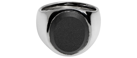 Oval Onyx Polished Ring in Silver/Black