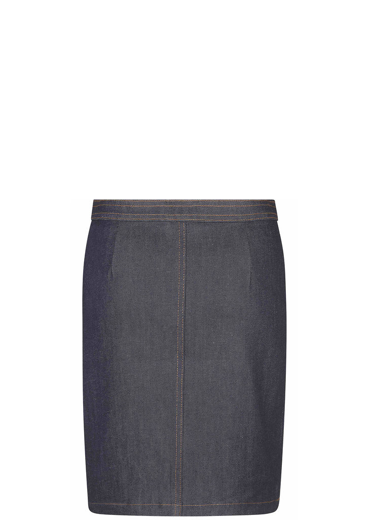 70S Denim Stretch Brut Skirt in Indigo
