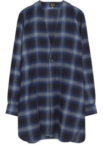 SS17 1Button Cardigan Shirt in Navy Plaid