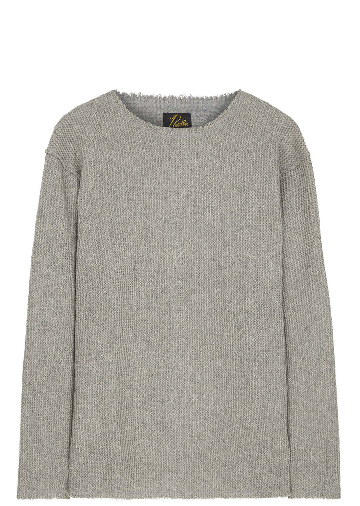 SS17 Cut Off Boat Neck Long Sleeve T-shirt in Grey