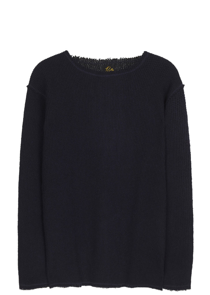 SS17 Cut Off Boat Neck Long Sleeve T-shirt in Navy