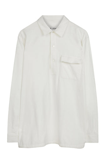 SS17 Vent Popover Shirt in White Flannel