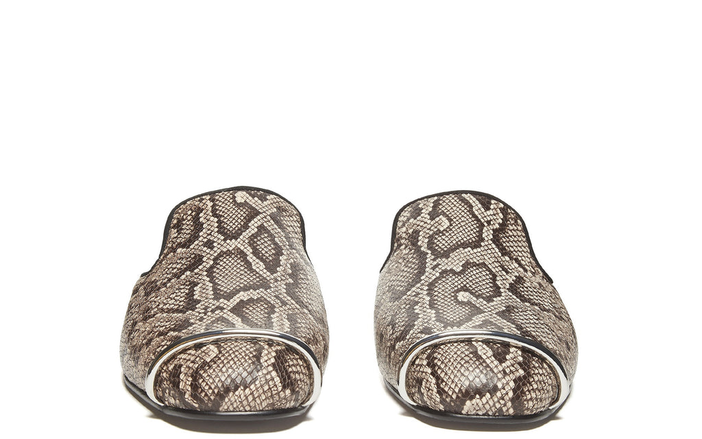 SS17 Jaelle Snake-Print Leather Mules in Teak