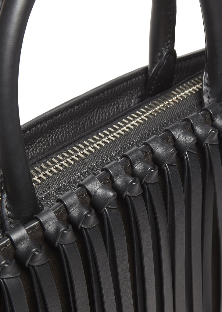 SS17 Attica Flap Fringe Leather Bag in Black