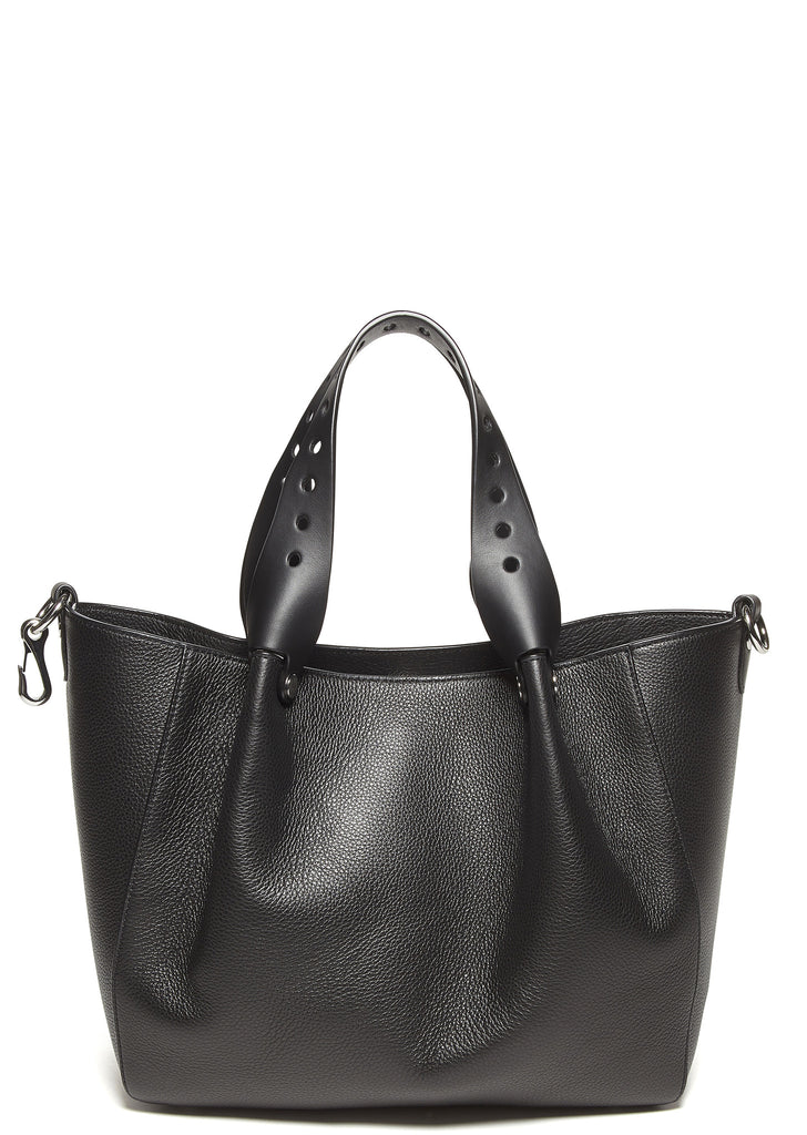 SS17 Pebbled Leather Riot Tote Bag in Black