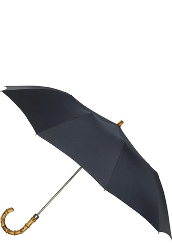 SS17 Whangee Cane Crook Folded Umbrella in Navy Fleck