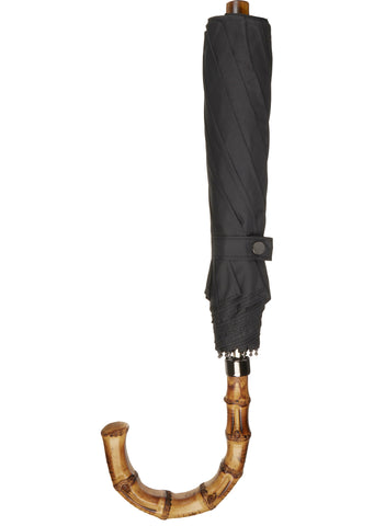 SS17 Whangee Cane Crook Folded Umbrella in Black