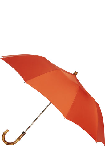 SS17 Whangee Cane Crook Folded Umbrella in Orange