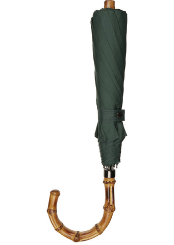 SS17 Whangee Cane Crook Folded Umbrella in Dark Green