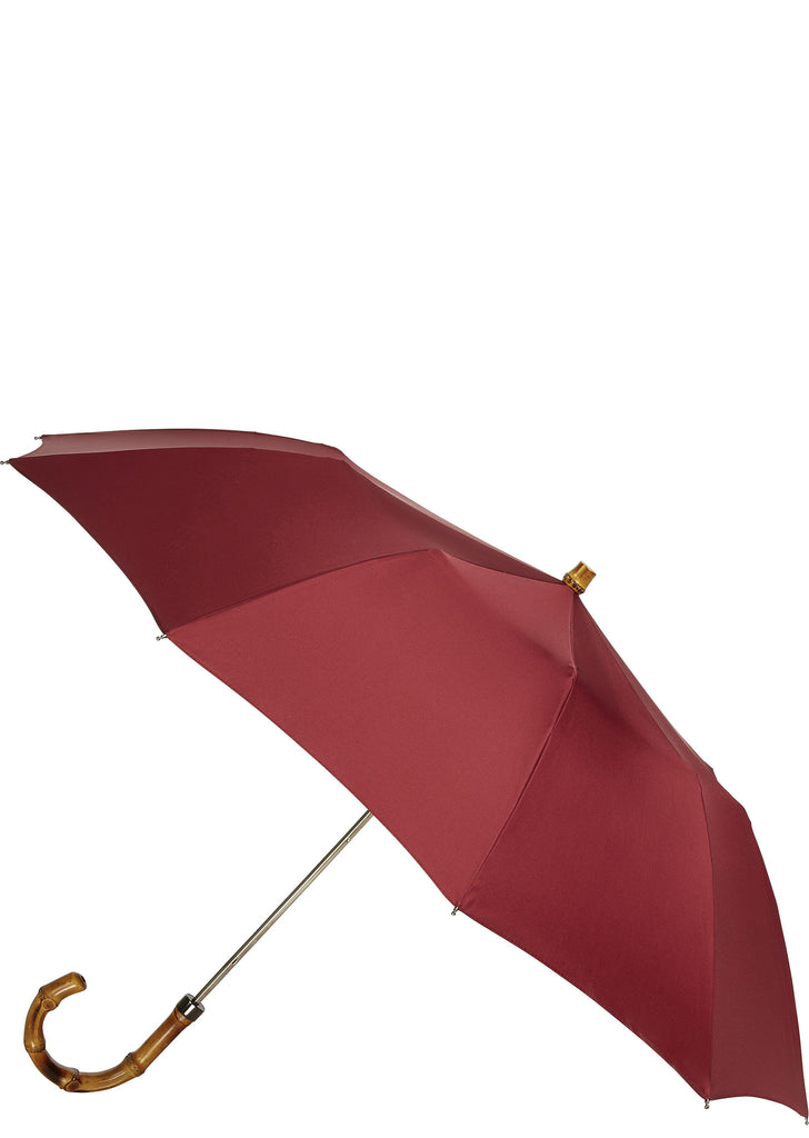SS17 Whangee Cane Crook Folded Umbrella in Burgundy