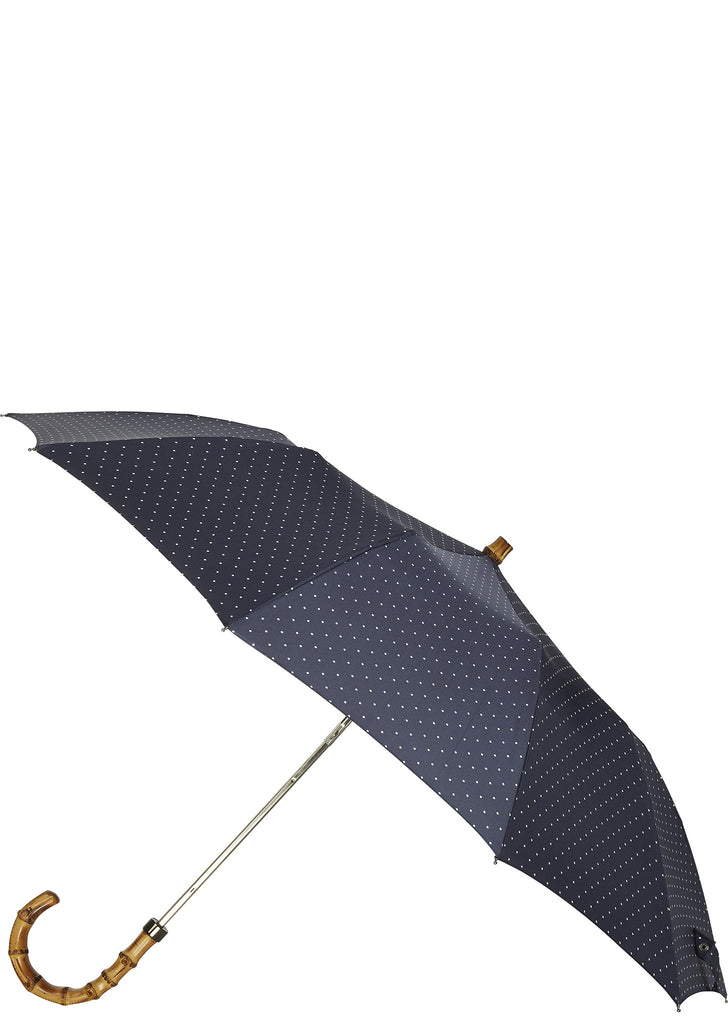 SS17 Whangee Cane Crook Folded Umbrella in Polka Dot