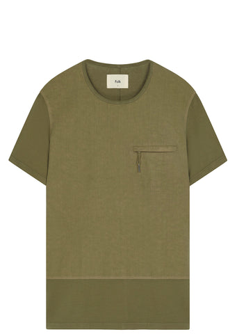 SS17 Combination T-Shirt in Military Green