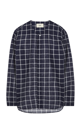 SS17 Collarless Shirt in Navy Check