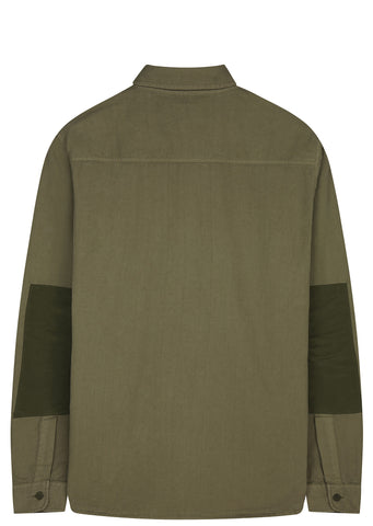 Folk Elbow Patch Shirt in Military Green
