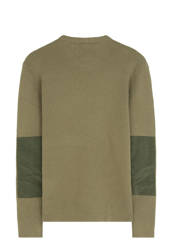 SS17 Cotton Waffle Crewneck in Soft Military Green