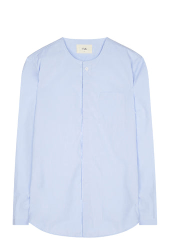 SS17 Zip Collarless Shirt in Light Blue