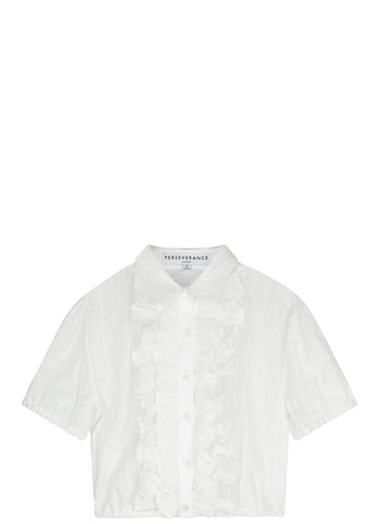 SS17 Cropped Cotton Shirt in Off White