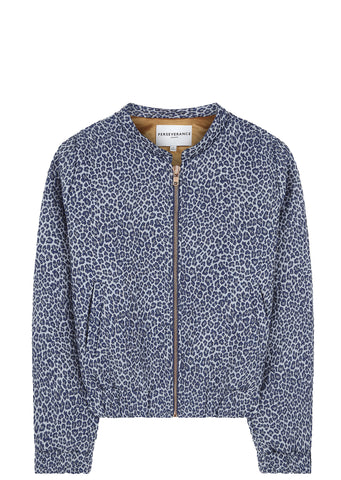 SS17 Animal Print Bomber Jacket in Navy