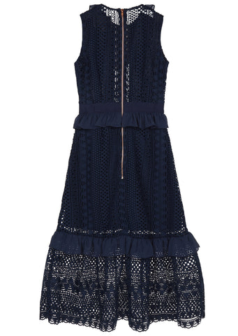 SS17 Lace Midi Dress in Navy
