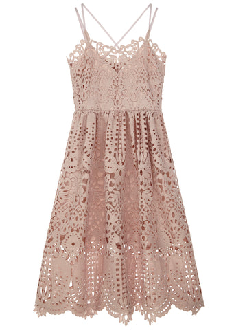 SS17 London Flared Lace Dress in Dusty Pink
