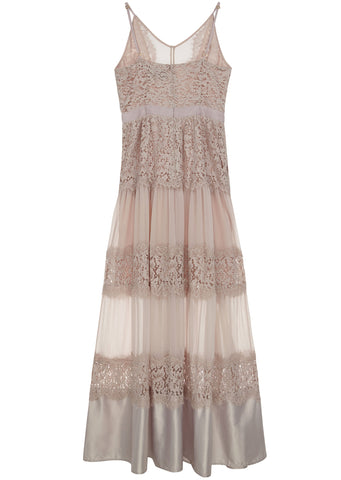 SS17 London Lace Panel Maxi Dress in Dusty Pink