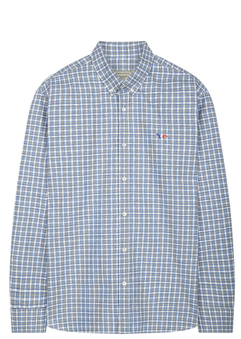 SS17 Tricolour Fox Patch Button Down Check Shirt in Blue