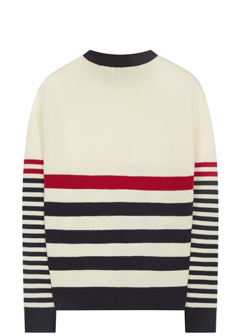 SS17 Striped Wool Crew Knit in Ecrue