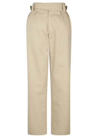 SS17 Jeannie Buckle Worker Trousers in Beige