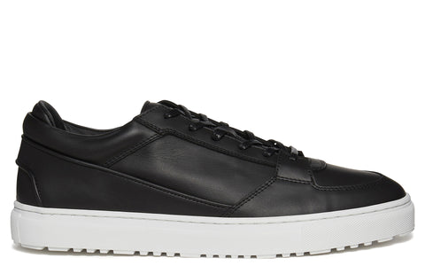 SS17 Low 3 Rubberised Leather Sneaker in Black
