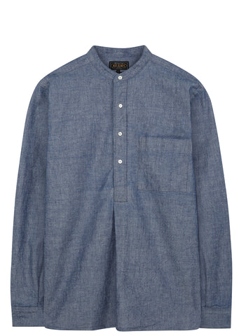 SS17 Long Sleeve Chambray Band Collar Shirt in Blue