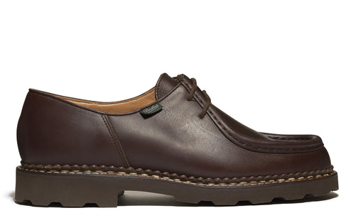 SS17 Michael Grained Leather Shoe in Dark Brown