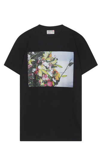 SS17 A.Four Labs x Cali Thornhill DeWitt Rain Melt Flowers T-shirt in Black