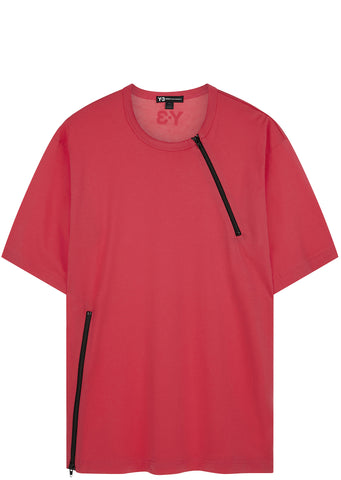 SS17 Jersey Zip T-shirt in Blaze Pink