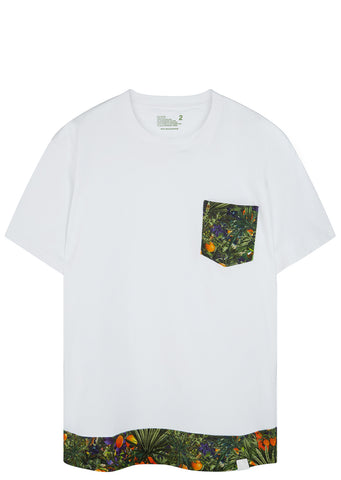 SS17 Tropical Pattern Printed T-Shirt in White