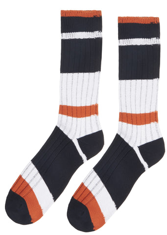SS17 Multi Border Middle Socks in Orange