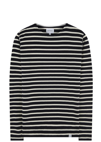 SS17 Gotfred Classic Compact Long Sleeve T-shirt in Navy/Ecru