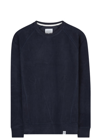 SS17 Ketel Solid Brushed Crewneck Sweatshirt in Navy