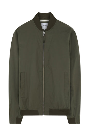 SS17 Ryan Crisp Cotton Bomber Jacket in Dried Olive