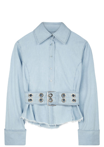 SS17 Frayed Belted Denim Shirt in Blue