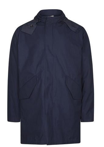 SS17 Cotton Splash Shell Coat in Navy