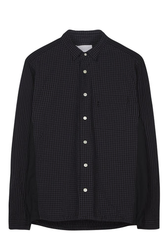 SS17 Gingham Seersucker Wind Overshirt in Black