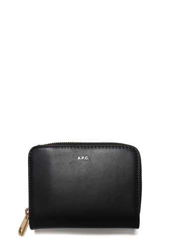 SS17 Compact Zip Leather Wallet in Black