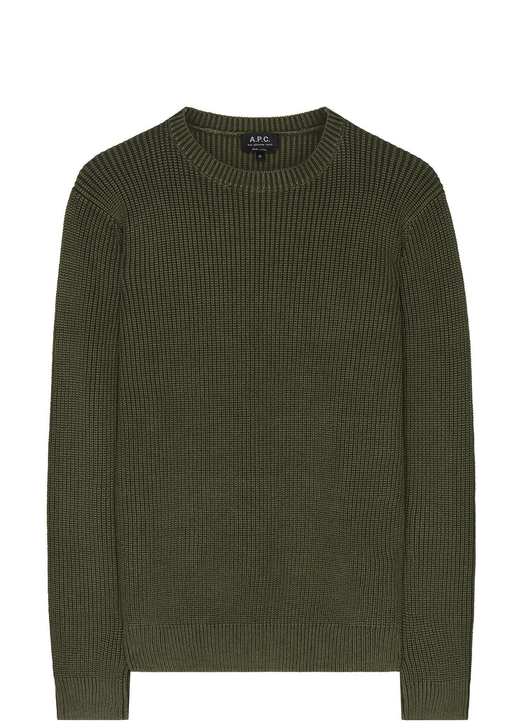 SS17 Anton Knitted Military Crewneck in Green
