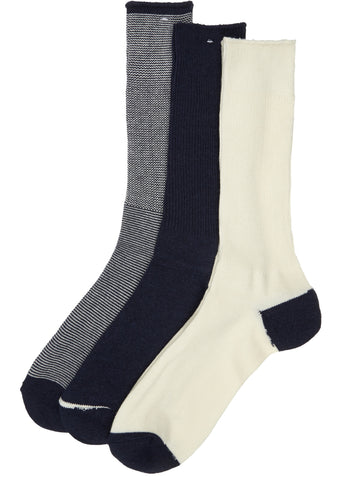 SS17 Rib Crew 3 Pack Socks in Navy