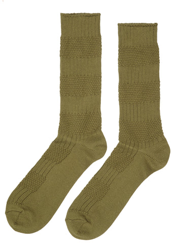 SS17 Moss Stitch Crew Sock in Army